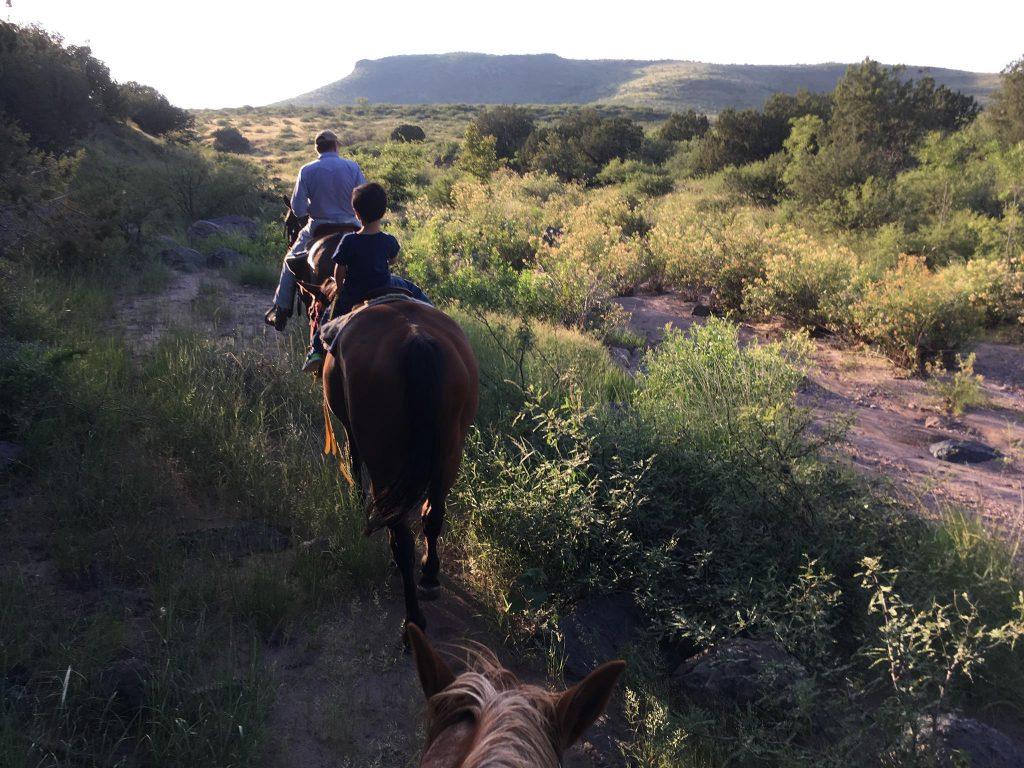 The author's father and son ride horses just ahead of her on a trail on the working lands where she grew up, Sycamore Canyon Ranch in southern Arizona.