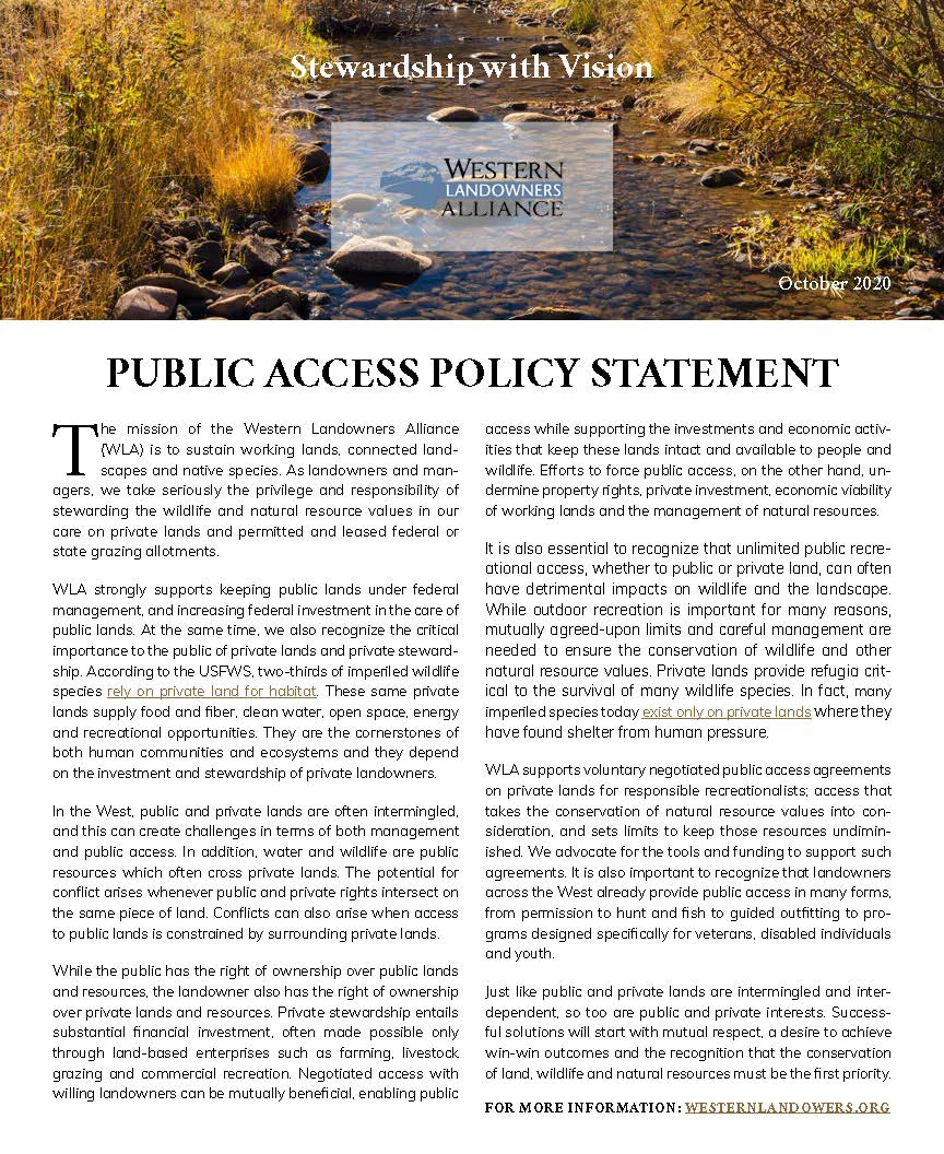 Cover WLA 2020 Public Access Policy Statement