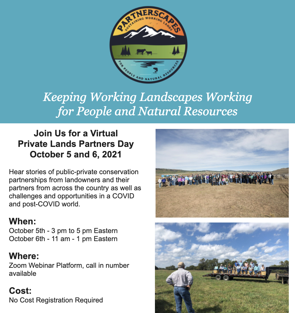 Join Us for a Virtual Private Lands Partners Day October 5 and 6, 2021